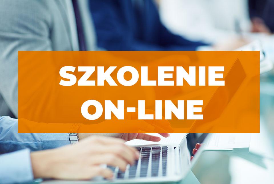 Napis na pomarańczowym tle Szkolenie on-line