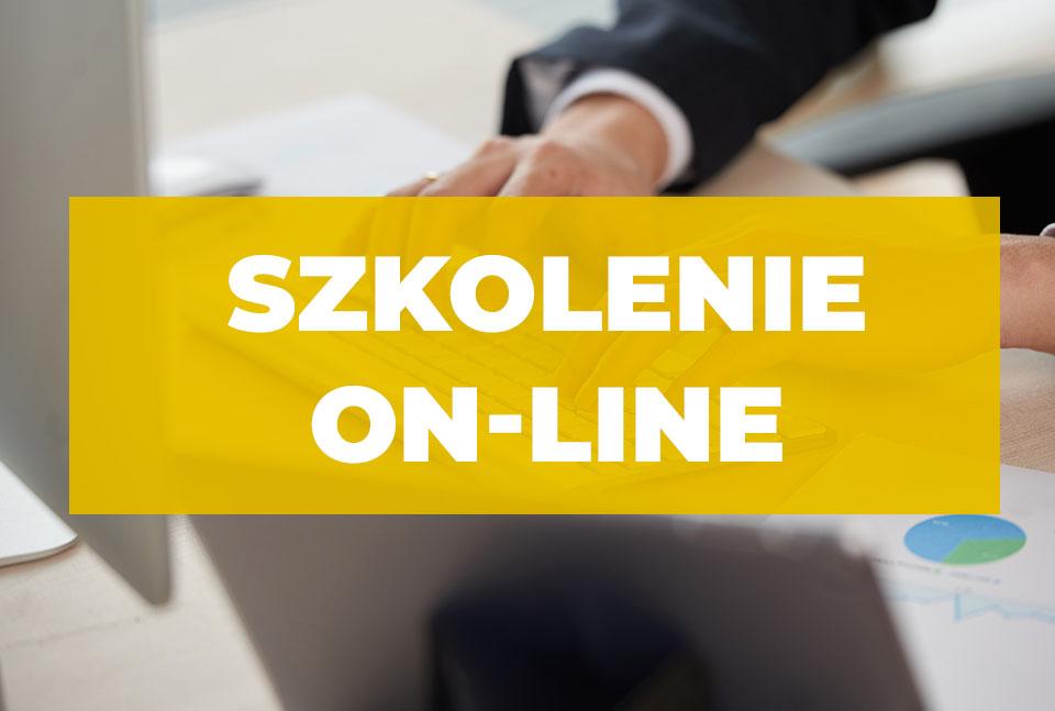 Napis na żółtym tle Szkolenie on-line